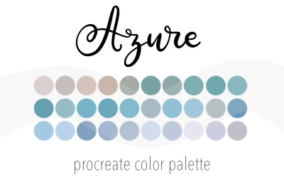 Azure color palette for Procreate. 30 Swatches for iPad.