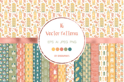 16 Spring House Vector Patterns and Seamless Tiles