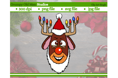 red nose reindeer wearing Santa hat clip art | antlers with Christmas
