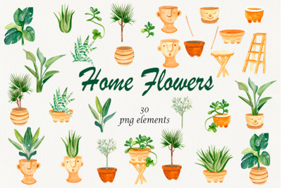 House plants, Boho home decor watercolor clipart