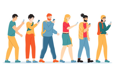 People smartphone addiction. Internet, social media addicted people, m