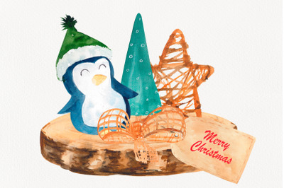 Watercolor composition with penguin for Christmas card, Holiday decor
