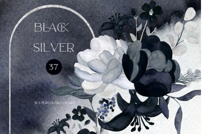Black Silver. Mystic Flowers. Watercolor Clipart.  This set is ideal f