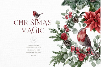 Watercolor Classic Christmas Illustrations