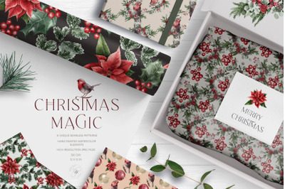 Watercolor Classic Christmas Digital Papers Pack