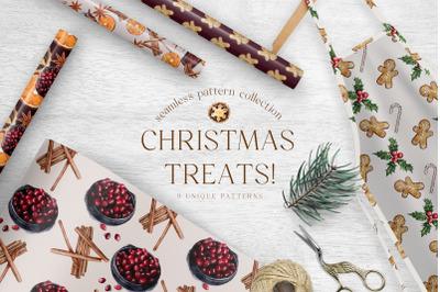 Christmas Treats Digital Paper Pack Patterns Festive Classic