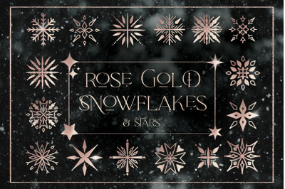 Rose Gold Snowflakes Stars Christmas Digital Elements PNG