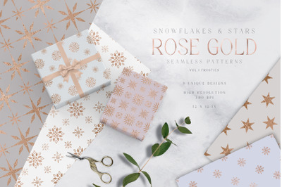 Christmas Digital Papers Pack Rose Gold Snowflakes Stars