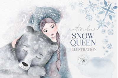 Watercolor Winter Christmas Snow Queen Illustration Bear PNG