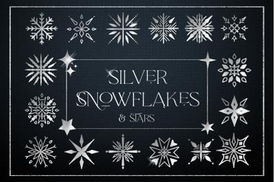 Silver Snowflakes Stars Digital Foil Logo Elements Christmas