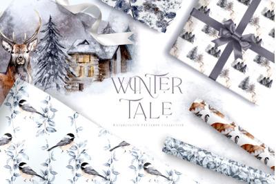 Winter Christmas Digital Paper Pack Festive Design Pattern