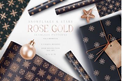 Christmas Digital Paper Pack Rose Gold Snowflakes Star Dark