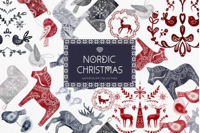 Nordic Christmas Clip Art Dala Horse Swedish Design