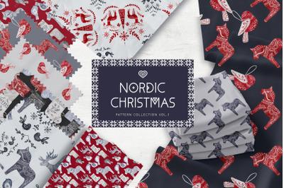 Nordic Christmas Digital Paper Pack Swedish design Dala Vol1
