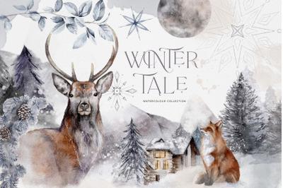 Winter Illustrations Clip Art Stag Reindeer Moon Snowflakes