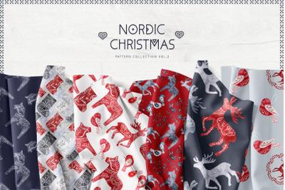 Nordic Christmas Digital Paper Pack Swedish design Dala Vol2