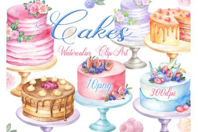 Watercolor cakes clipart birthday cake wedding dessert bakery clip art