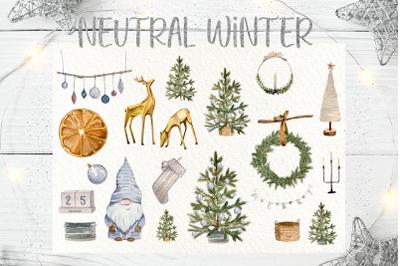 Neutral Winter Clip Art Set