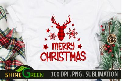 Christmas Sublimation Buffalo Plaid Reindeer PNG