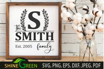 Family Monogram SVG for Home, Farmhouse Sign