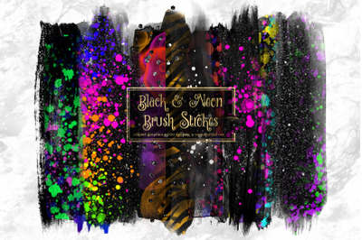 Black and Neon Brush Strokes Clipart