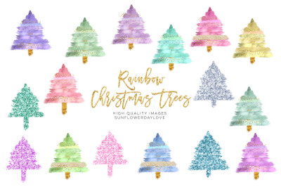 Modern Christmas Tree Clip Art Collection, Glitter Brush Strokes