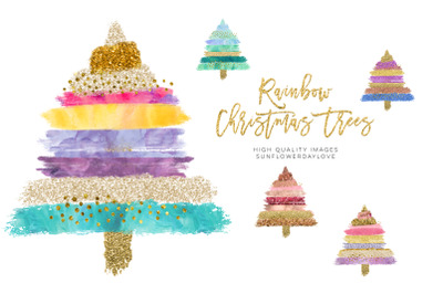 Rainbow Christmas tree clipart, Boho Gold Glitter Christmas Clip Art