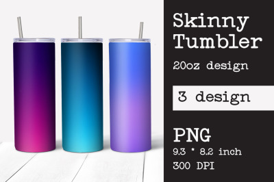 Skinny tumbler sublimation ombre design 20oz