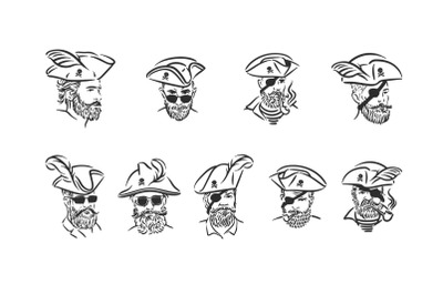 Pirates portraits illustration set