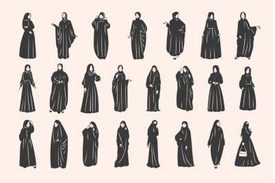Muslim arabic woman in hijab and abaya