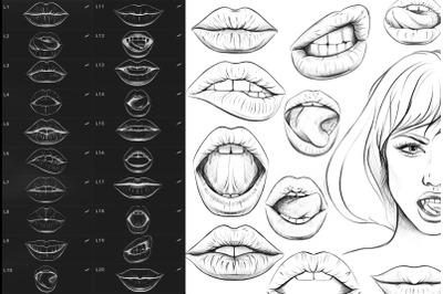 20 Procreate Lips Stamp Brushes