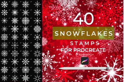 40 Christmas Snowflakes Stamp Procreate
