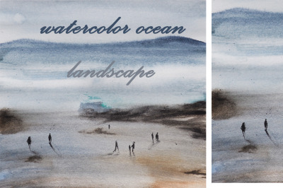 watercolor nature and landscape ocean/sea illustration with people of