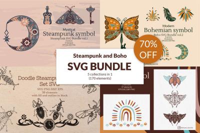 SVG Bundle 5 in 1. Boho SVG, Steampunk SVG 70% OFF