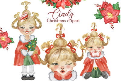 Cindy Christmas clipart. Watercolor clipart with a little girl.