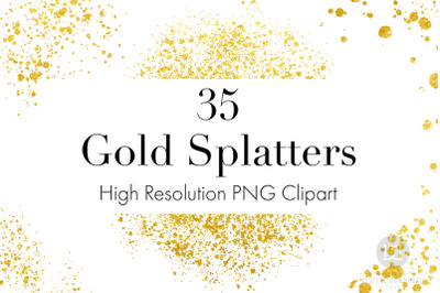 Gold Splatters Clipart, Gold Dust PNGs, Gold Glitter, Gold Overlays