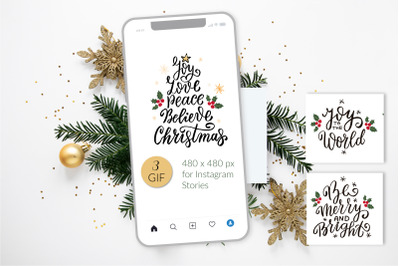 Animation stickers set for Instagram stories template. GIF stickers.