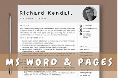 Combination Resume Template with Photo for Word & Pages