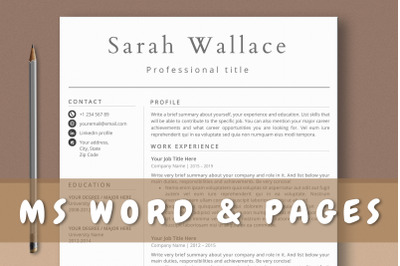 Clean Simple Professional Resume Word & Pages