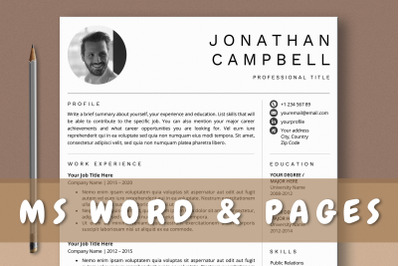 Professional Resume Template Word & Pages
