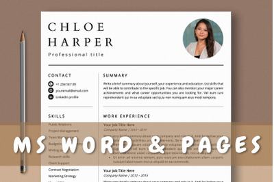 Clean Simple Resume Template with Photo