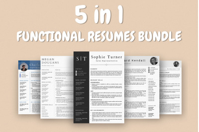 Functional Resume Templates Bundle - 5 Templates Included