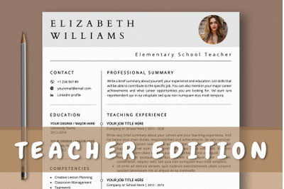 Teacher Resume Template with Photo Word & Pages