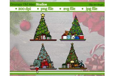 set of Christmas tree clip art | various Christmas tree designs