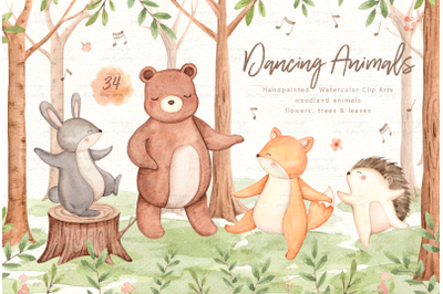 Dancing Animals Watercolor Clip Arts