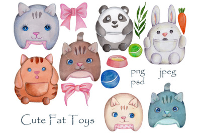 Set of cute fat toy animals. Watercolor.