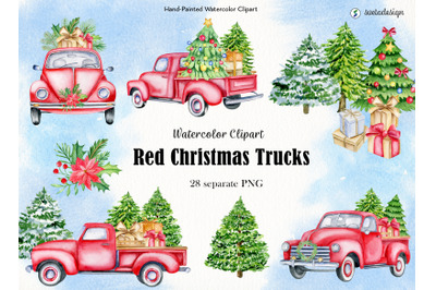 Red Christmas trucks watercolor clipart. Classic cars old timer PNG
