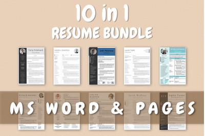 Resume Templates Bundle Word & Pages - 10 Templates Included