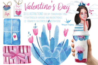 Valentine's day Romantic watercolor illustrations : set of 33