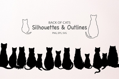 Cat silhouettes and Outlines SVG Cut File